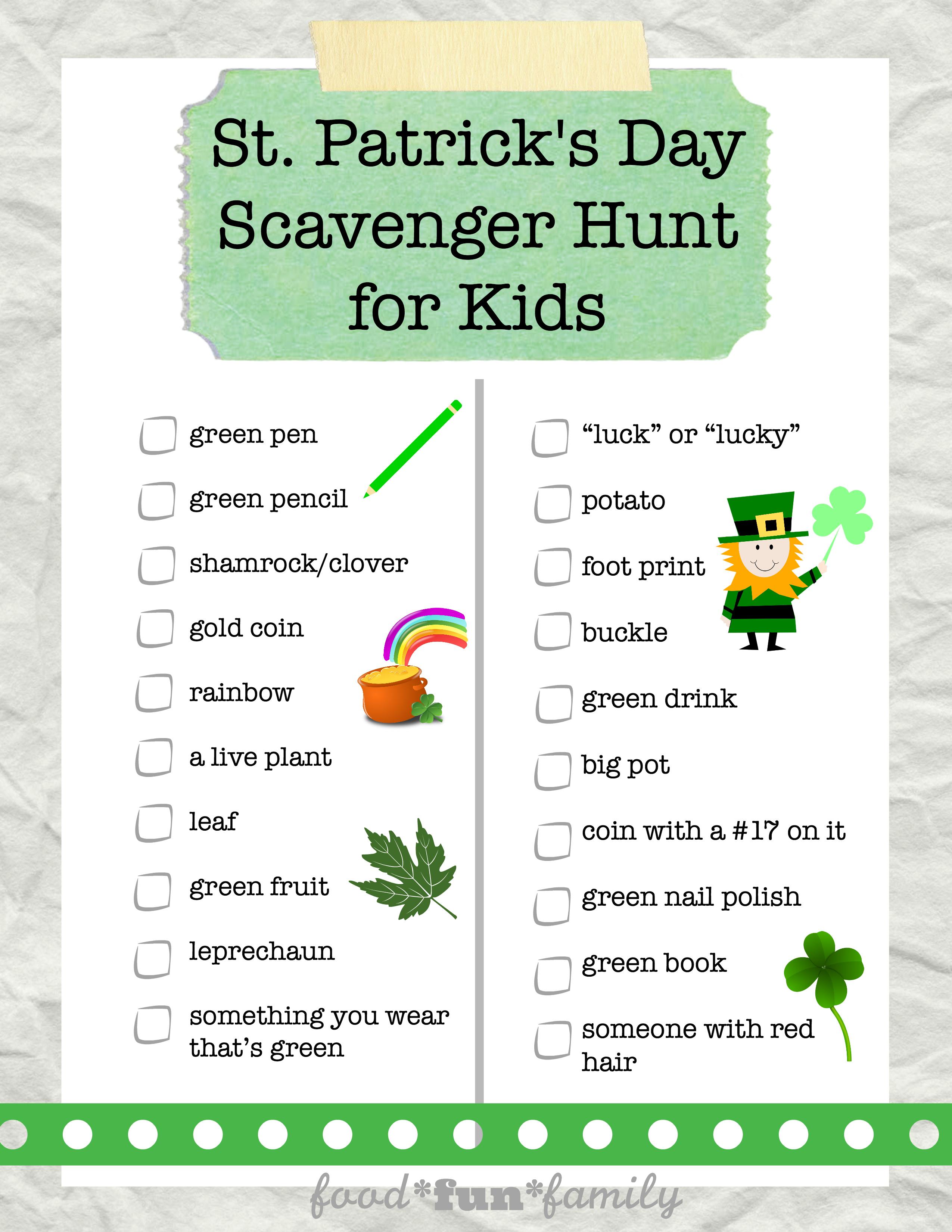 St Patrick S Day Scavenger Hunt