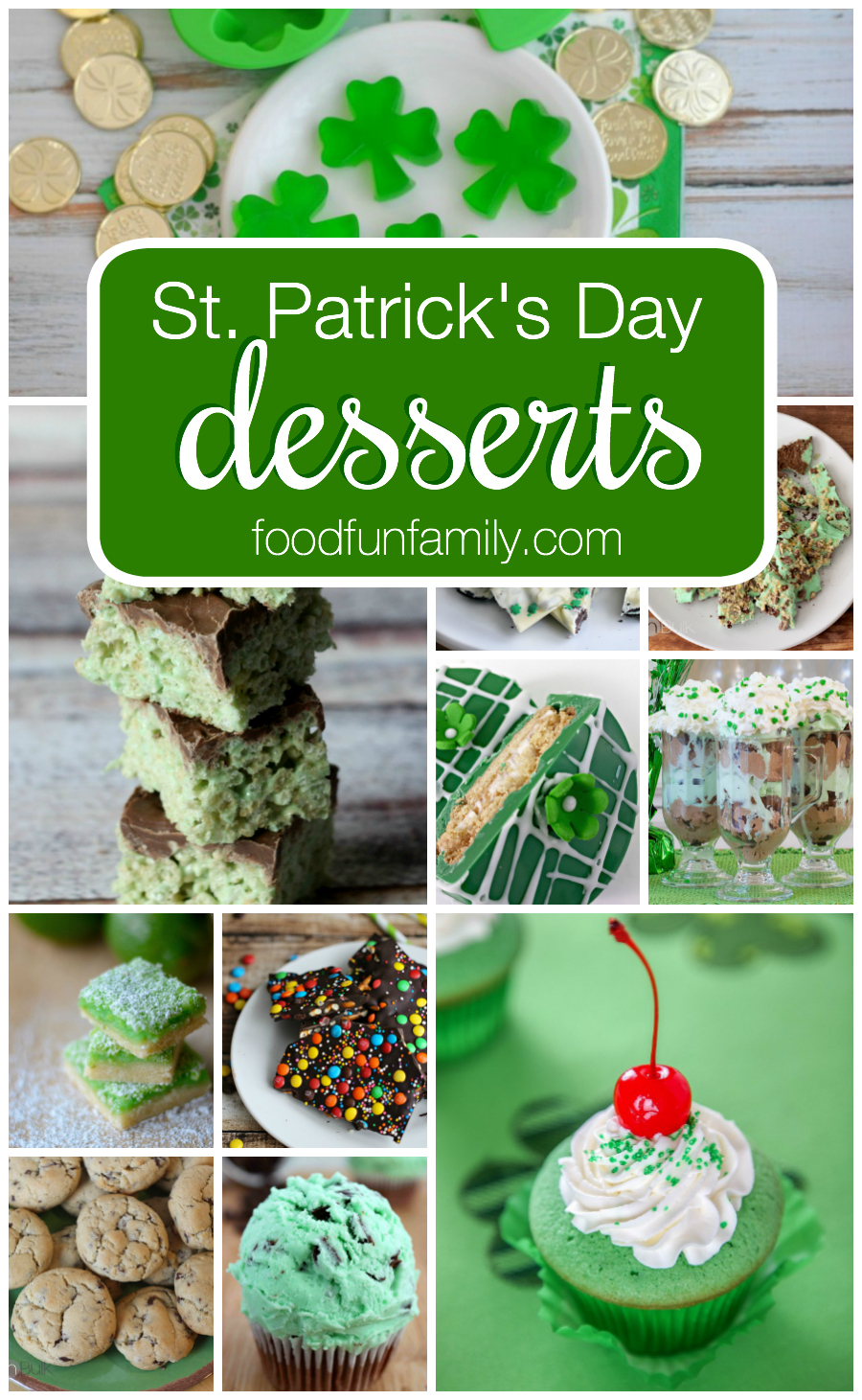 St. Patrick's Day Desserts Recipe Round Up - everything from mint chocolate chip cookies to leprechaun bark to shamrock shake cupcakes and more!