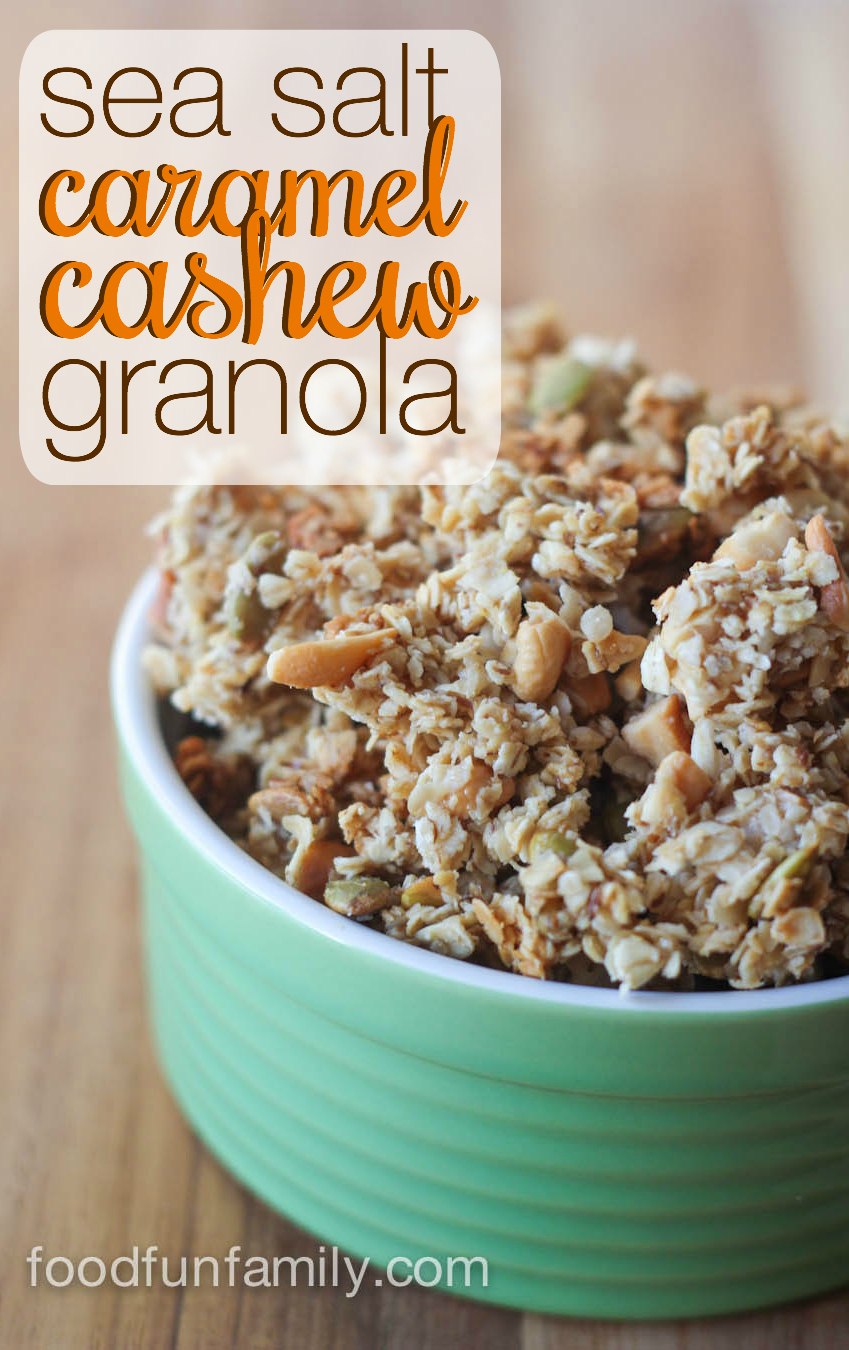 This Sea Salt Caramel Cashew Granola will become your new favorite breakfast and healthy snack! Easy to make with real, simple ingredients!