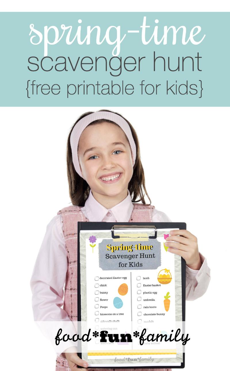 Spring time scavenger hunt free printable for kids