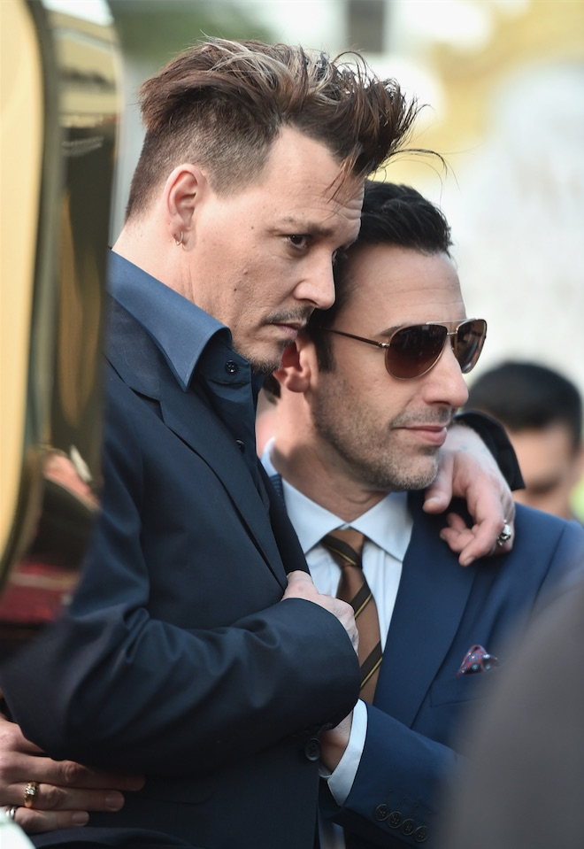 Johnny Depp and Sacha Baron Cohen at the Alice Through the Looking Glass Red Carpet