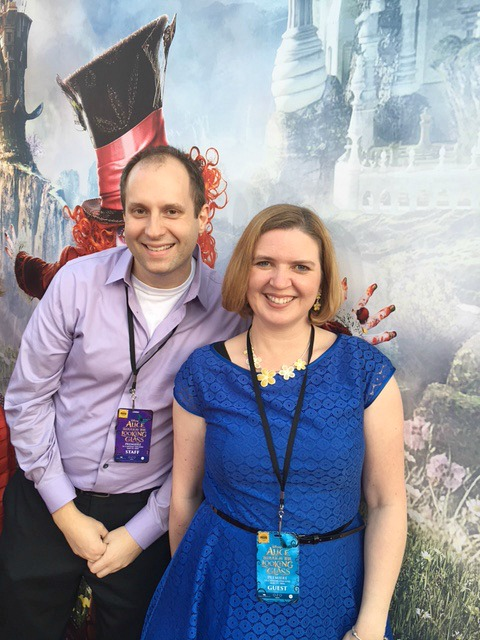 Laura from Food Fun Family and Marshall on the Alice Through the Looking Glass red carpet
