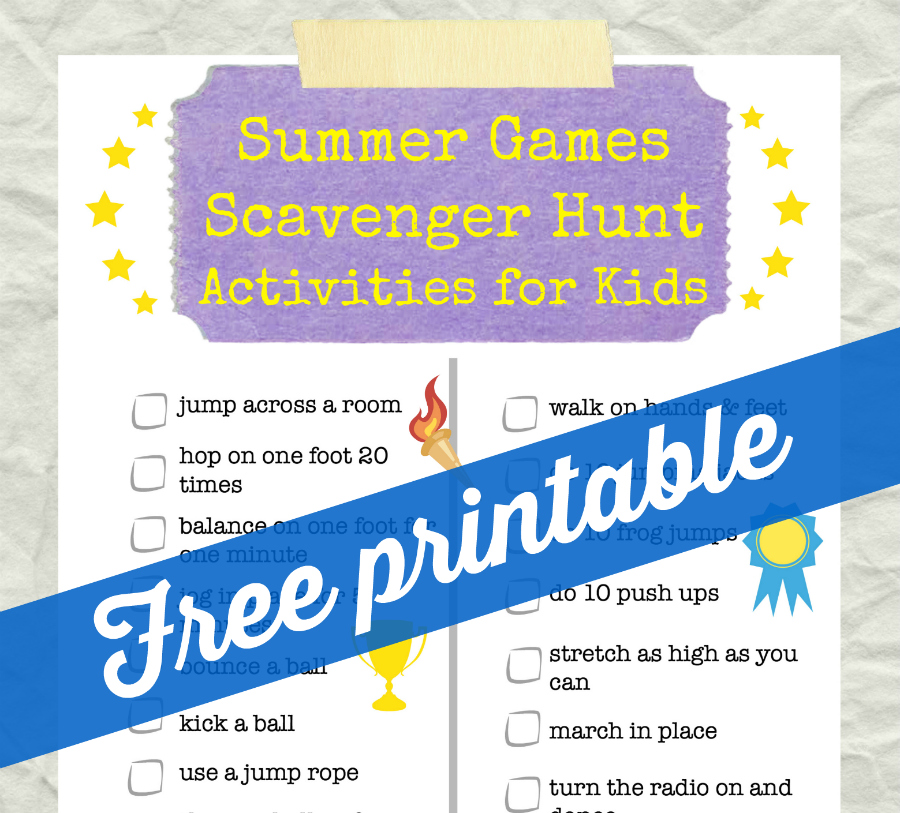 Summer games scavenger hunt activities for kids from Food Fun Family preview