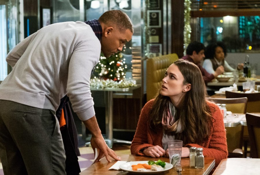Will Smith and Keira Knightley in Collateral Beauty -- Photo by Barry Wetcher - © 2016 Warner Bros. Entertainment Inc., Village Roadshow Films North America Inc. and Ratpac-Dune Entertainment LLC