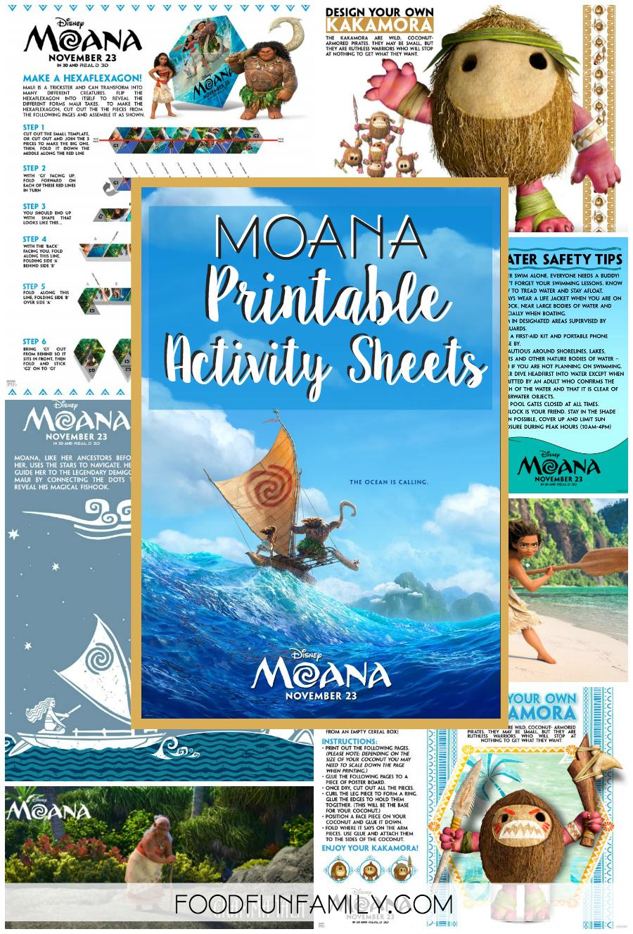 Moana printable activity sheets from Food Fun Family