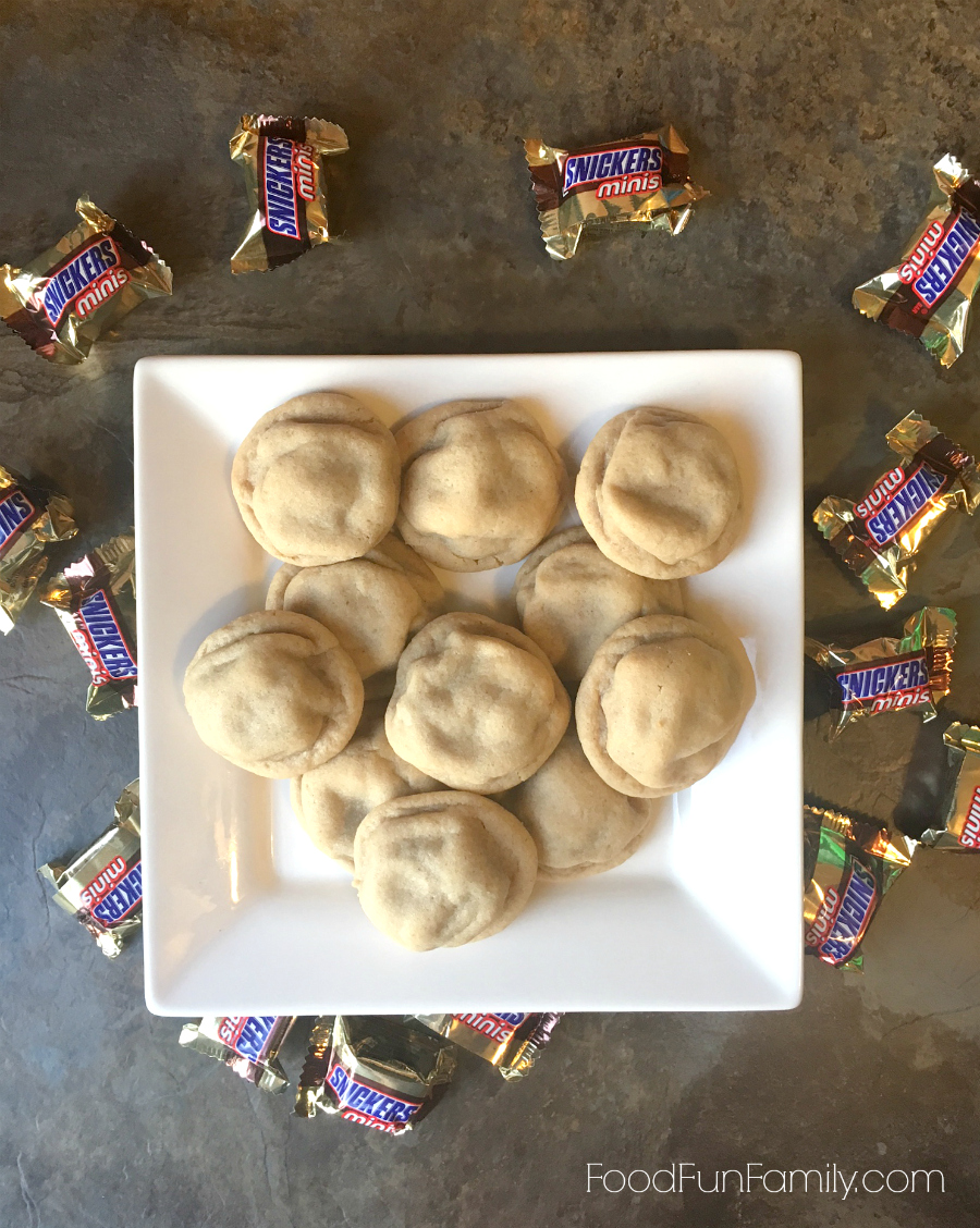 Snickers-stuffed peanut butter cookies from Food Fun Family