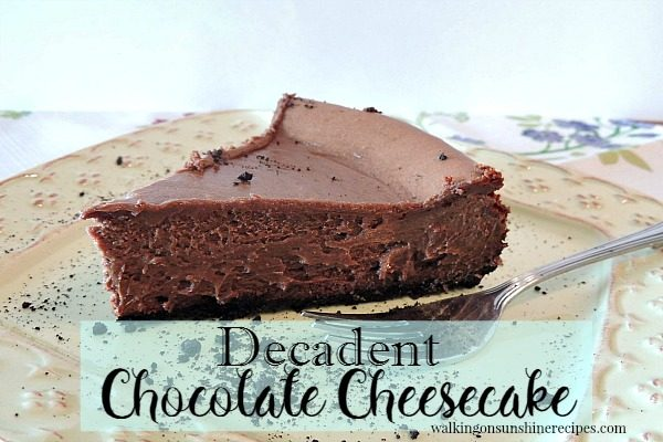 Chocolate Cheesecake from Walking on Sunshine WOS
