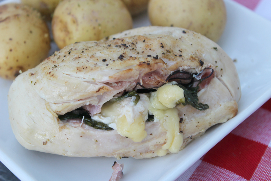 Pressure Cooker Ham & Spinach Stuffed Chicken Breasts