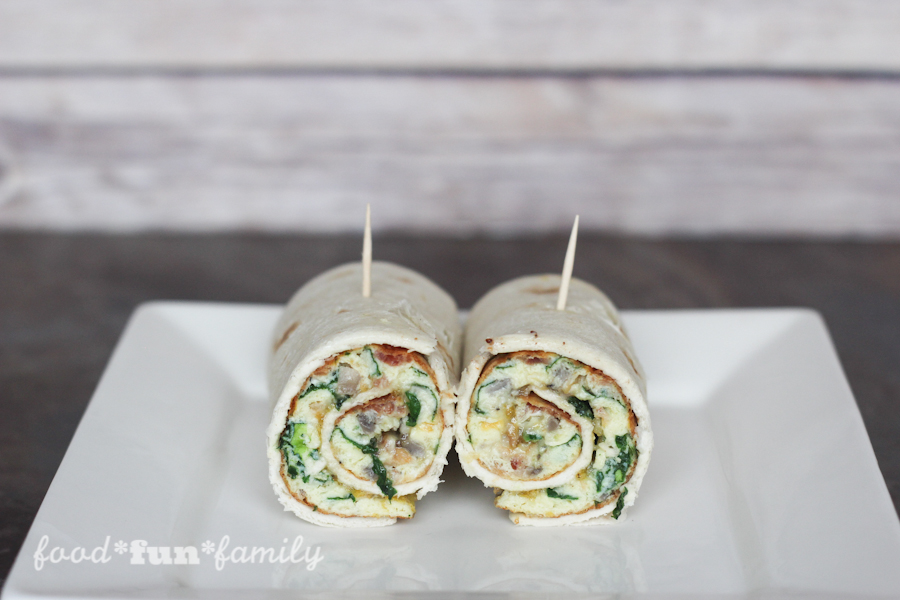 Spinach and bacon breakfast burritos - an on-the-go breakfast recipe from Food Fun Family