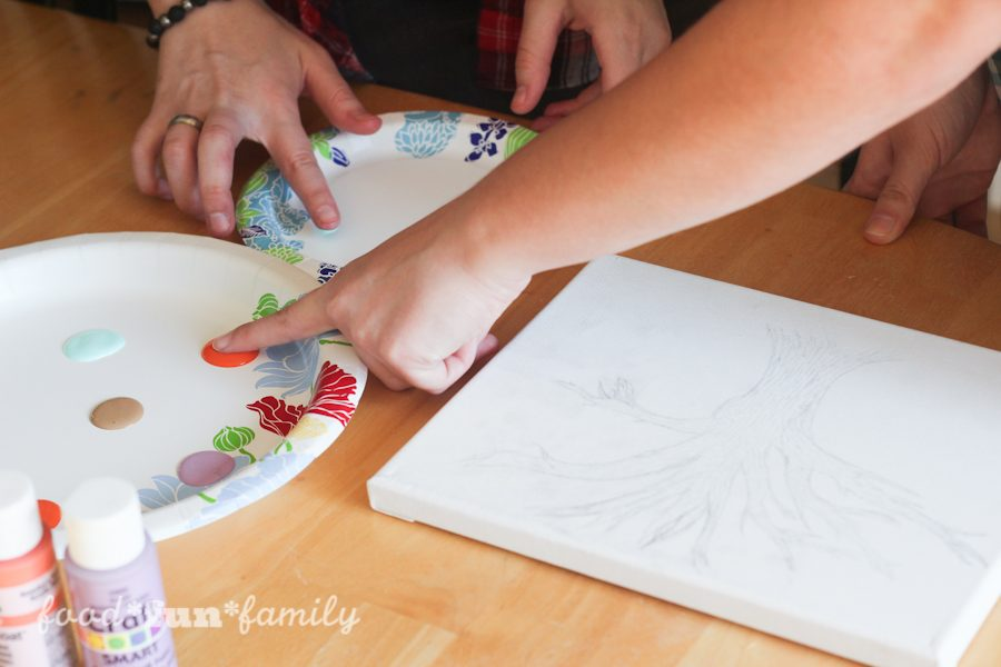DIY Thumbprint tree canvas craft for Mother's Day from Food Fun Family