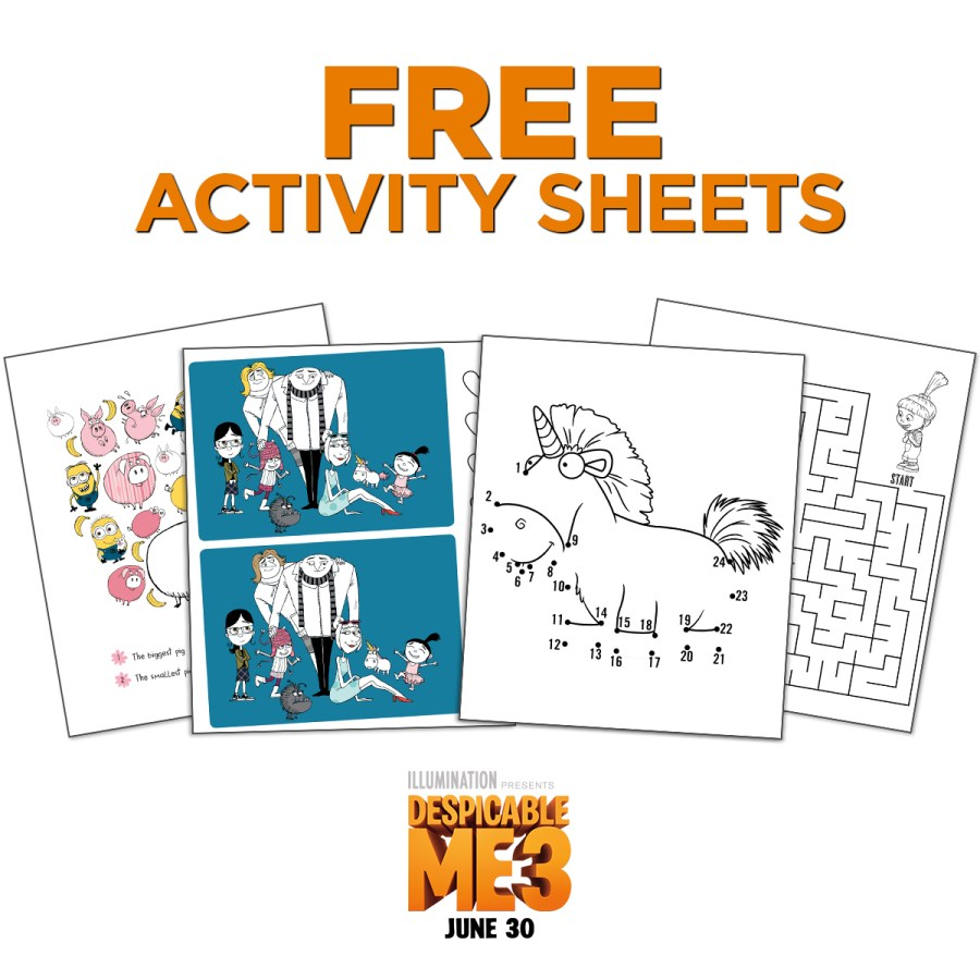 Despicable Me 3 Activity Sheets