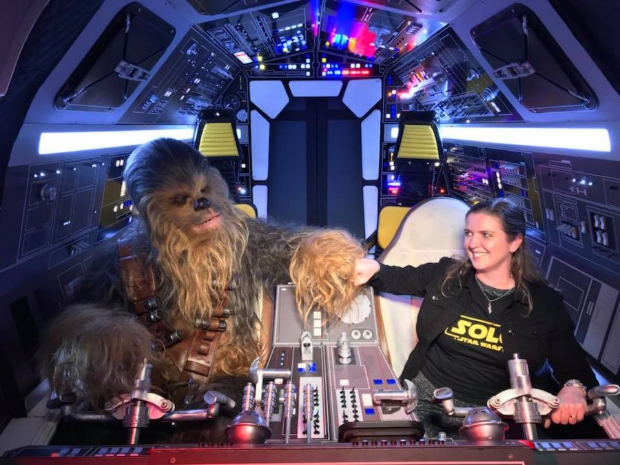 Me and Chewie in the cockpit of the Millennium Falcon