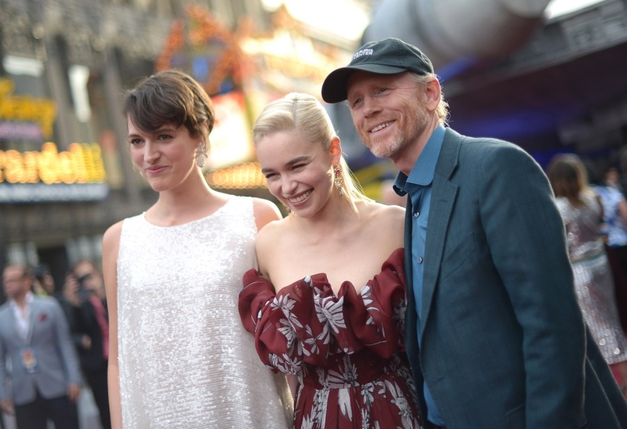 "HOLLYWOOD, CA - MAY 10: (L-R) Actors Phoebe Waller-Bridge and Emilia Clarke, and Director Ron Howard attend the world premiere of ""Solo: A Star Wars Story"" in Hollywood on May 10, 2018. (Photo by Charley Gallay/Getty Images for Disney)"