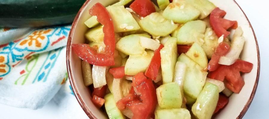 Garden-Fresh Cucumber Tomato Salad in Vinaigrette Dressing