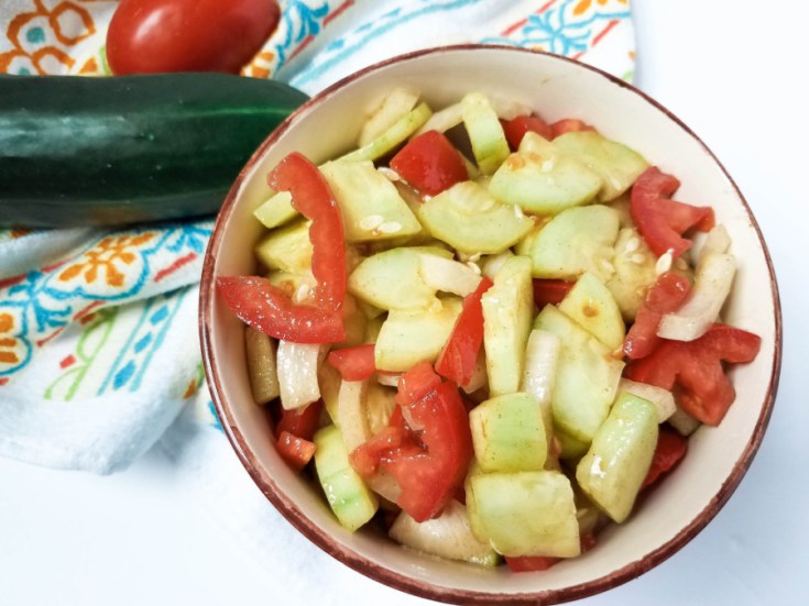 Garden-Fresh Cucumber Tomato Salad in Vinaigrette Dressing