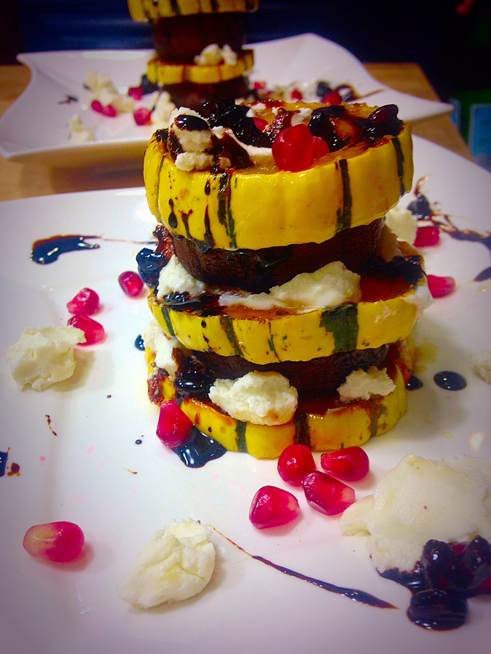 Candied Delicata Squash and Portobello Mushroom Salad with Goat Cheese and Pomegranate Balsamic