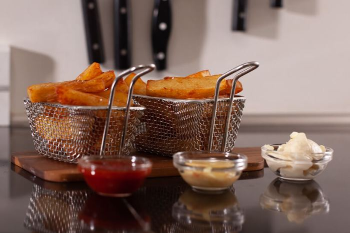 Triple cooked fries with dips