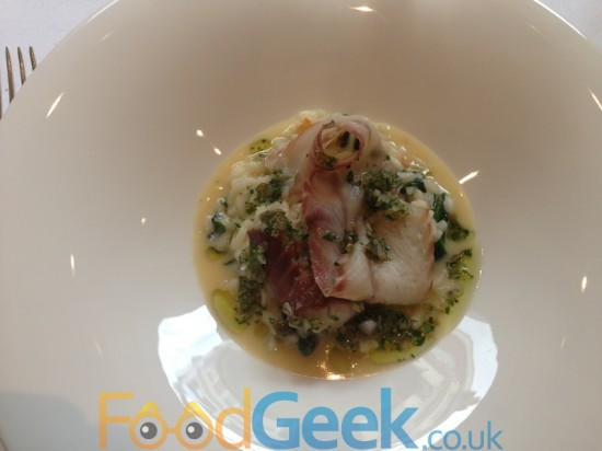 Crab Risotto with Smoked Eel, Wild Garlic & Preserved Lemon