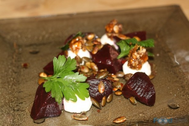 Oven Roast Beets, Sticky Walnuts, Spicy Pumpkin Seeds, Fresh Ricotta