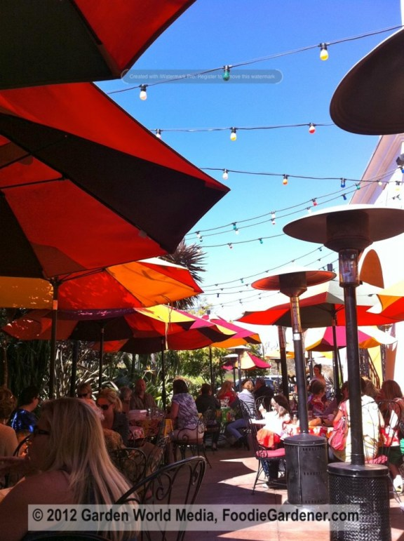 Casa de Bandini Patio dining with umbrellas and colored string lights