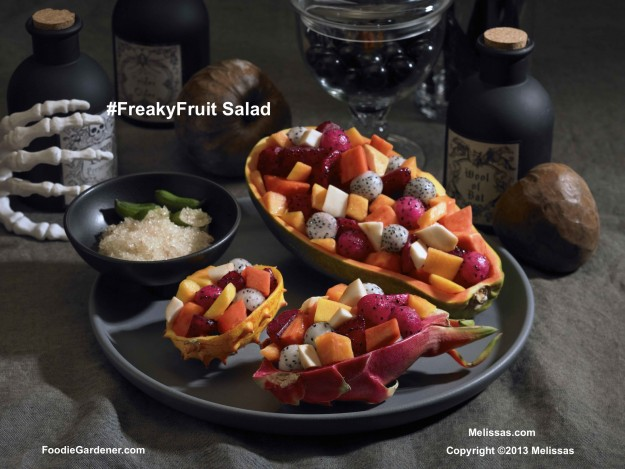Freaky Fruit salad with tropical fruit- papaya, cherimoya, dragon fruit and pomegranate