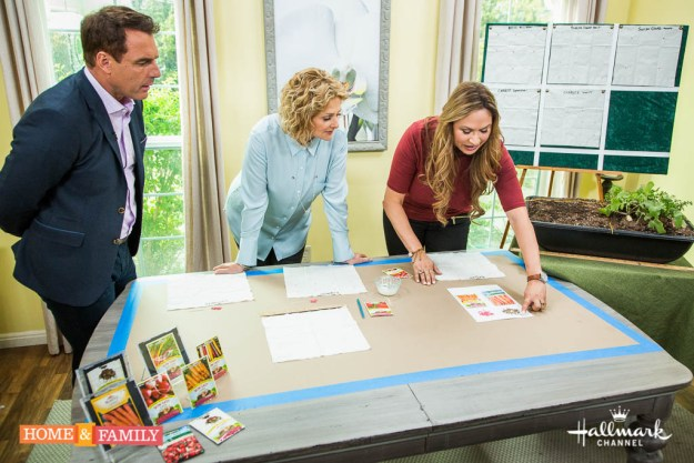 shirley-bovshow-explains-DIY-seed-mats-for-square-foot-garden-to-mark-steines-cristina-ferrare-home-and-family-show-hallmark-channel-foodie-gardener-blog