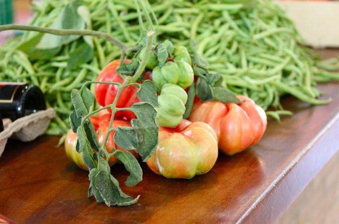 Tomatoes and beans grown locally at the Market Vilanova