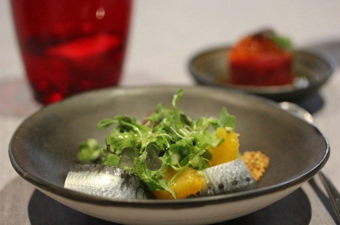 Sardine with orange and fresh wasabi
