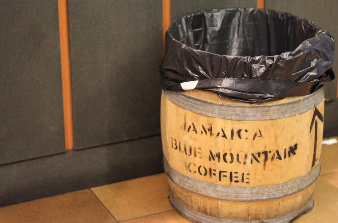 one of the coffee bean barrels at Cafes el Magnifico