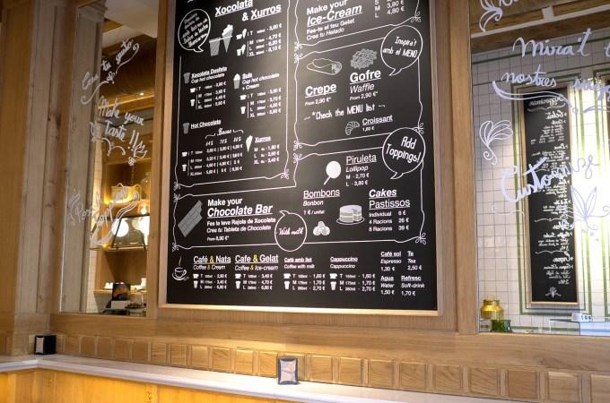 The menu La Xocolateria