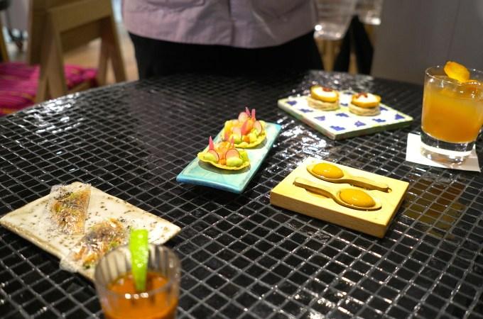 Plates of food at Hoja Santa