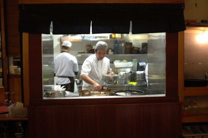 The frying station at Tempura - Ya