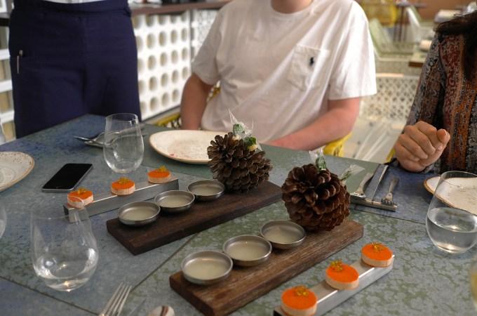 Transparent pesto ravioli served in a pine cone