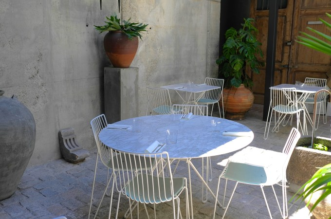 Seats in the courtyard at the box social