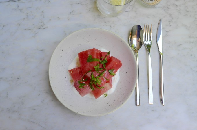 Watermelon with greek yogurt and mint