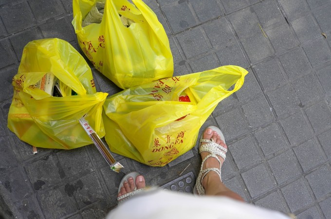 foodie in Barcelona asian supermarket recommendations full shopping bags on the floor