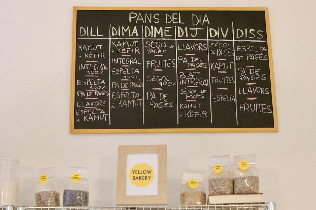 The weekly menu of breads