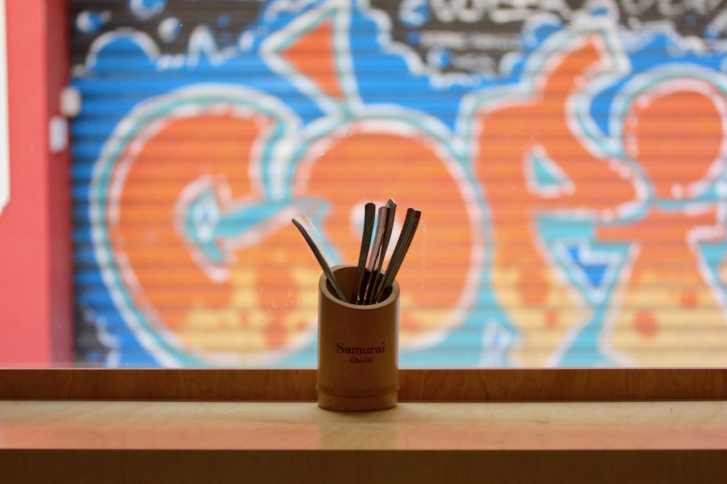 Cutlery in the window