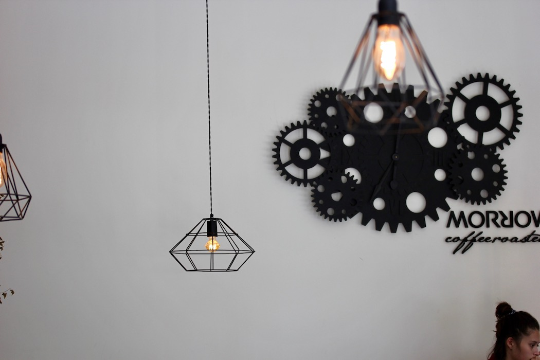 Mechanical themed light fittings at Morrow Coffee