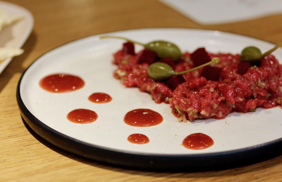 Steak tartar with capers at Hetta Restaurant