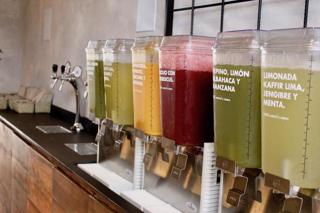 Agua fresca dispensers at Honest Greens