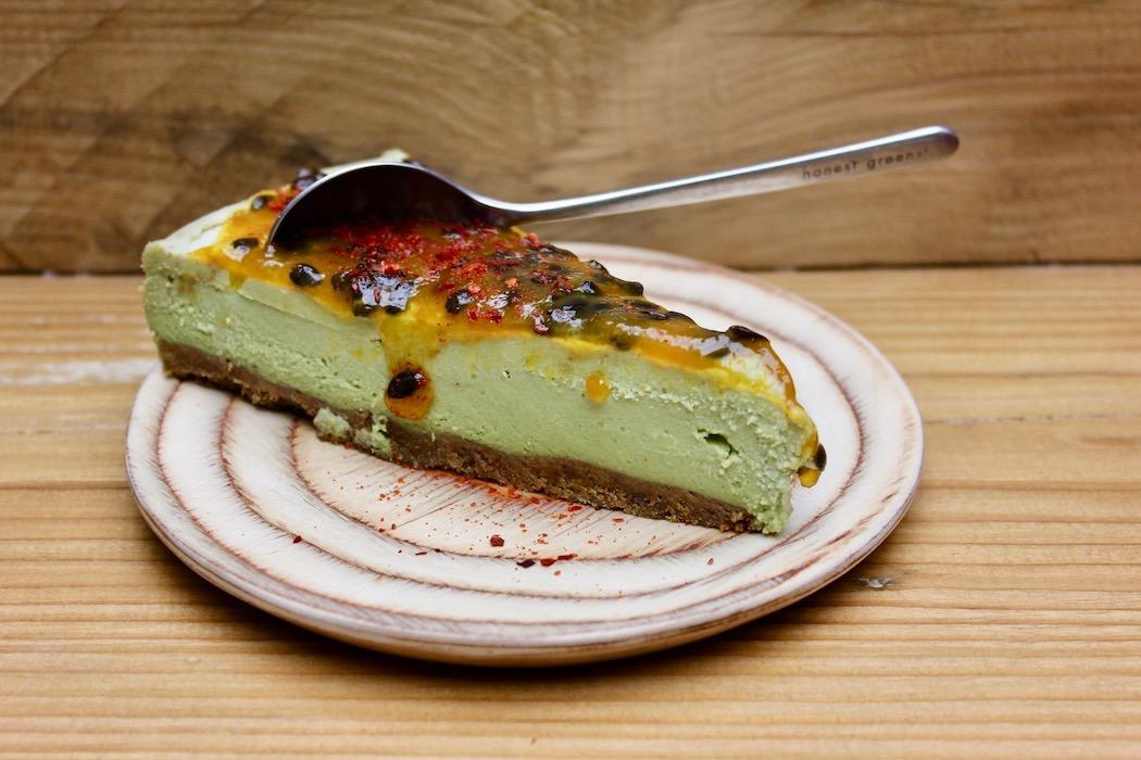 Vegan matcha cake with passion fruit at Honest Greens Barcelona