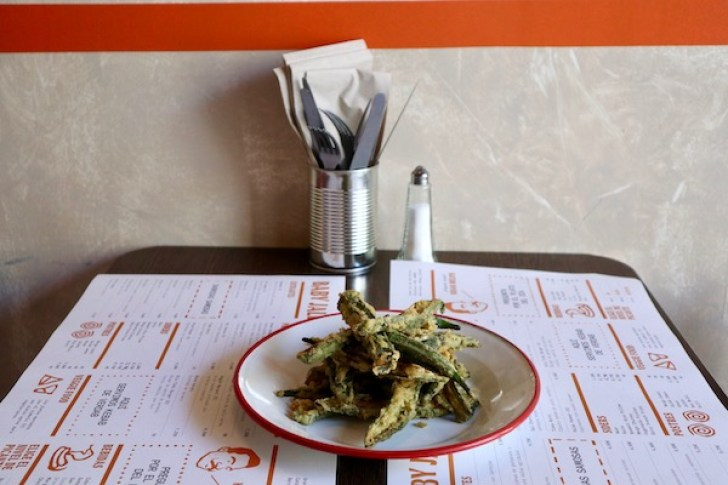 Fried okra at Baby Jalebi Barcelona