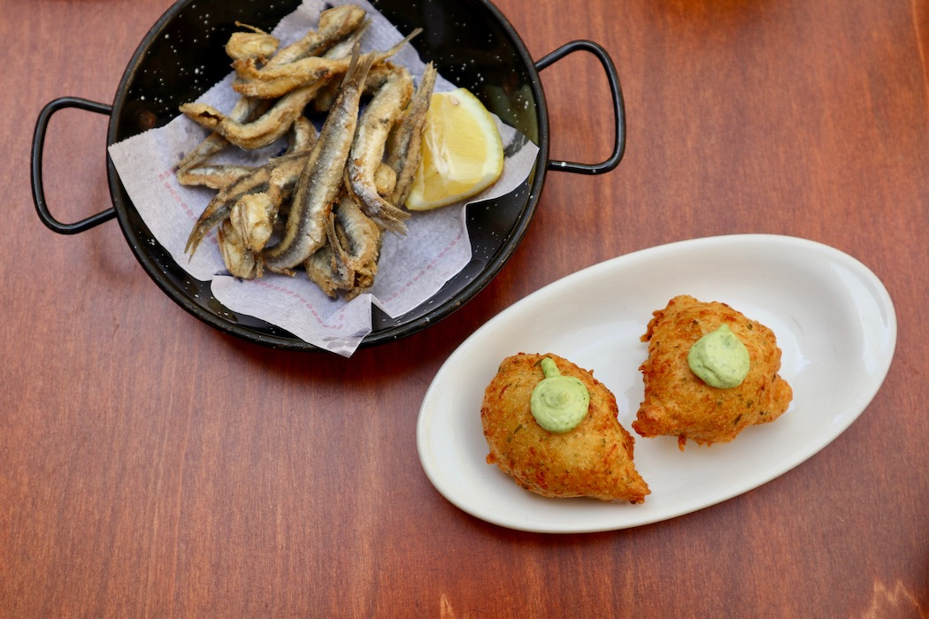Cod fritter and fried whitebait
