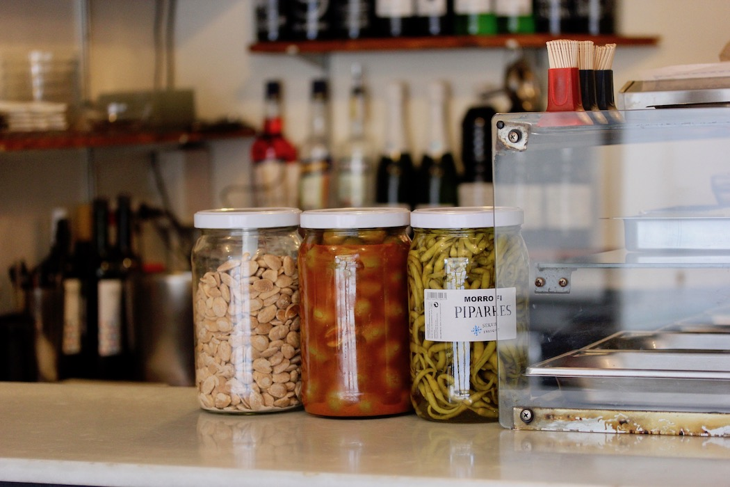 Jars of peppers and almonds at Morro Fi