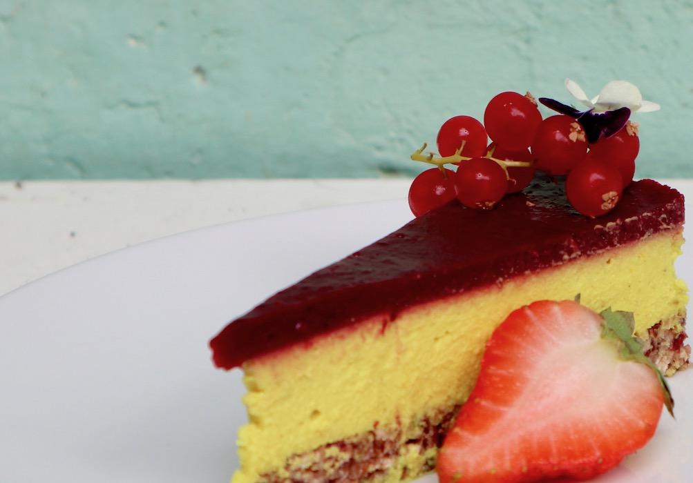 Vegan passion fruit, berry tart