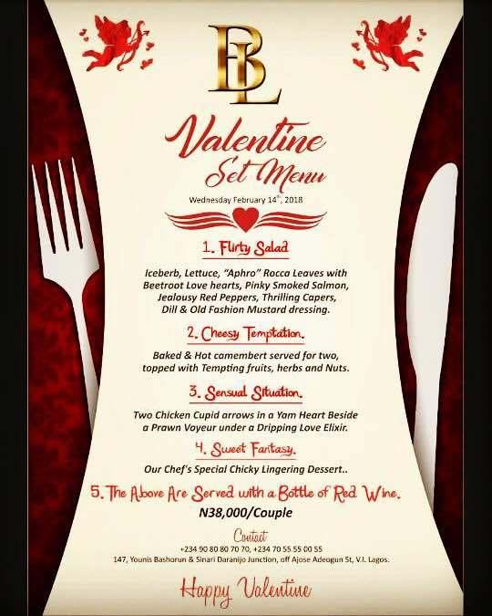 BL Valentine Set Menu