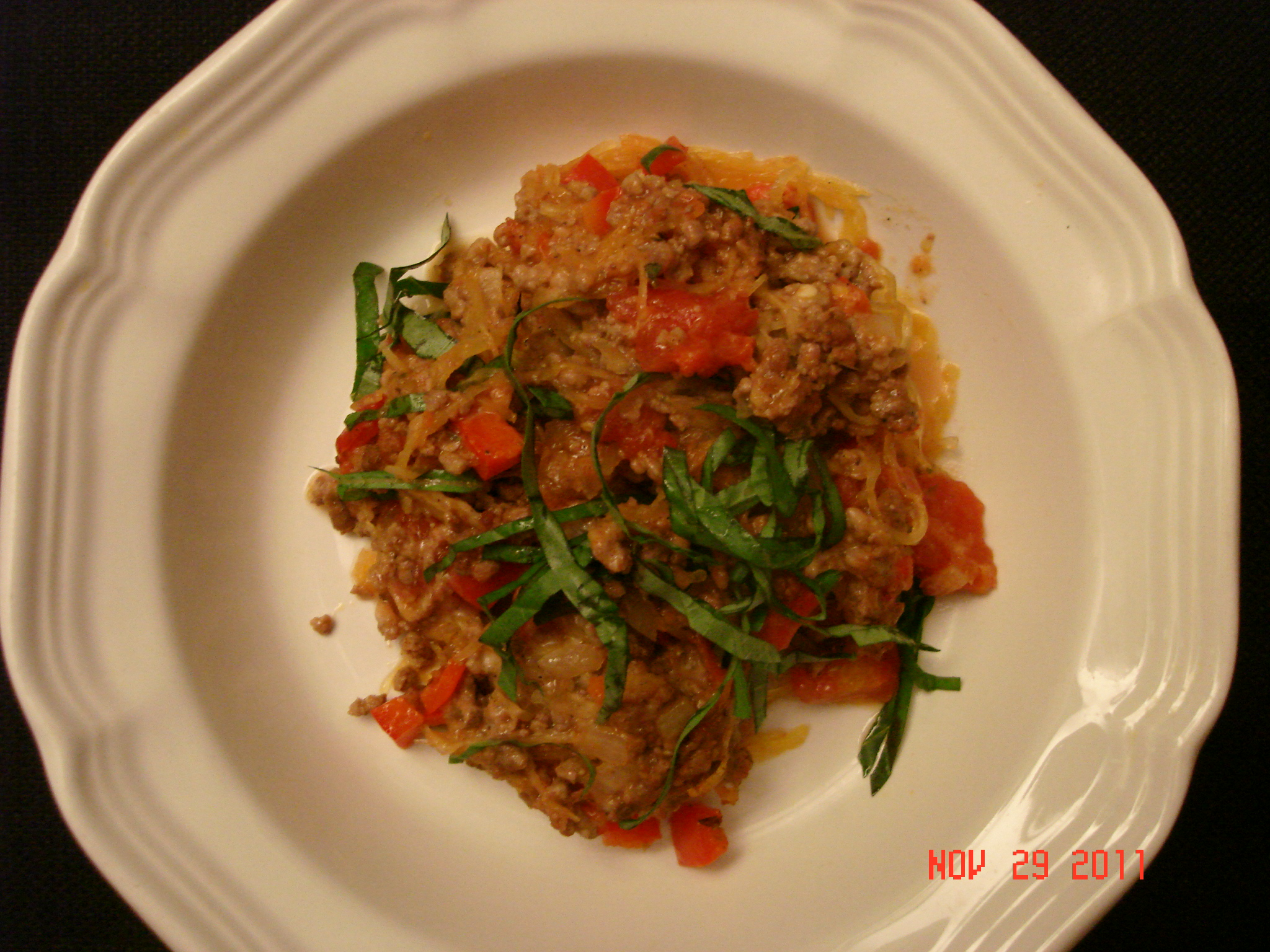 Spaghetti Squash with Ground Meat and Peppers