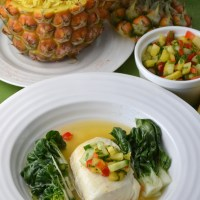 Halibut with Spicy Pineapple Broth and Pineapple Cucumber Relish: Fiesta Friday #21