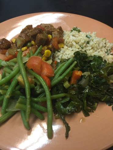 "Greens, ""beef"" stew and grains"